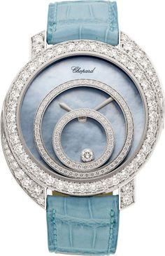 Chopard Diamond, White Gold, Leather Strap Happy Spirit Wristwatch, modern