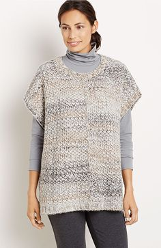 If I am going to wear a pullover sweater, I like it to be loose and not fitted. I also like this kind that is more like a vest that I can wear a t-shirt underneath. This one has nice colors and an interesting weave.