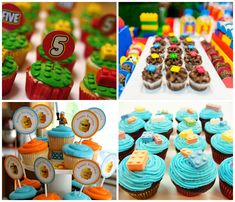 Lego cupcakes decorados para festa infantil