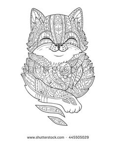 Zentangle stylized fat cat. Hand-drawn fluffy animal zen art for adult coloring page. Vector illustration on a white background for print.