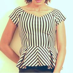 Forever 21 Striped Peplum Blouse The elegantly flared waist, cap sleeves and trendy stripes....Hello! Great with a skirt or pants. Excellent condition. Forever 21 Tops Blouses