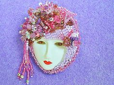 Face Jewelry Bead Embroidered Art Pin Lady Face Brooch - by redhetlady