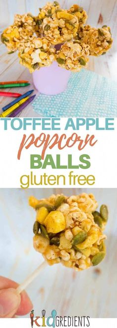 Toffee apple popcorn balls, perfect as a party treat, or an after school snack. Remove the sticks for lunchbox friendly popcorn balls! Gluten free snack. #kidgredients #snacks #kidsfood #popcorn via @kidgredients