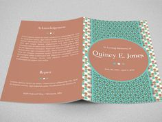 Turquoise Funeral Program Template   INSTANT DOWNLOAD by Godserv on Etsy