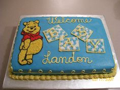 Pooh Baby Shower Cake   Winnie The Pooh Piping Gel Transfer Done In  Buttercream For A