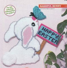 Bashful Bunny Easter Sign in Plastic Canvas by TamarasTraditions on Etsy