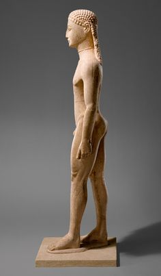 .Statue of a kouros (youth), ca. 590–580 B.C.; Archaic, Greek, Attic, Naxian marble, H. without plinth 76 in. (193.04 cm)
