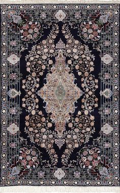 Click here to view this Beautiful Navy Background Vintage Isfahan Persian Rug 51149 available for sale at Nazmiyal Antique Rug