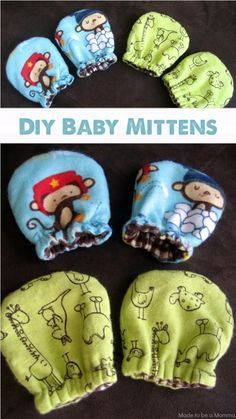 baby diy Baby Mittens: perfect way to keep your little ones hands nice and warm! Baby Sewing Projects, Sewing Projects For Beginners, Sewing For Kids, Sewing Crafts, Sewing Tips, Sewing Hacks, Sewing Ideas, Sewing Basics, Baby Sewing Tutorials