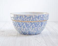 Vintage Mixing Bowl Blue Spongeware via Etsy.