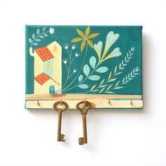 Hand-painted keys hanger for wall Acrylic painting on canvas Handmade Home Decor, Handmade Shop, Etsy Handmade, Handmade Gifts, Pottery Painting Designs, Paint Designs, Key Hanger For Wall, Wall Hooks, Mini Canvas