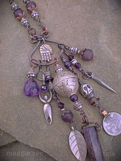 Shaman Protective Amethyst Amulet Necklace by maggiezees on Etsy