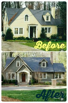 Home Remodeling Outdoor before and after curb appeal photos - Inspirational before and after landscaping and exterior home renovation photos. Home Exterior Makeover, Exterior Remodel, Exterior House Colors, Exterior Design, Exterior Siding, Exterior Paint, Grey Siding, Exterior Windows, Design Tropical