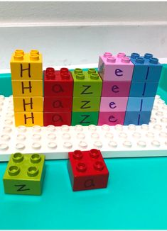 This preschool name activity uses Duplo the popular building toy to help to teach children how to build their name and learn to spell it!Preschool Name Activity - No Time For Flash Cards Name Writing Activities, Preschool Writing, Learning Letters, Classroom Activities, Preschool Activities, Preschool Assessment, Preschool Learning, Learning Games, Early Learning