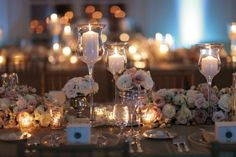 Reception lighting.  Your inspiration? :  wedding reception decor lighting Pink White Cream Gold Centerpieces