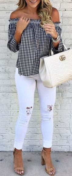 #summer #outfits / off the shoulder checkered shirt