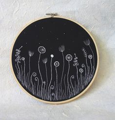 "Hand Embroidery Hoop Wall Art ""Flowers in the Night"" 