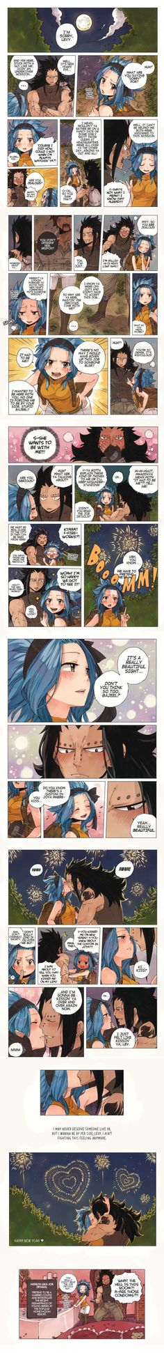 A New Year's Kiss: Gajeel and Levy [Fairy Tail] Gale Fairy Tail, Fairy Tail Ships, Fairy Tail Anime, Fairy Tales, Fairy Tail Family, Fairy Tail Couples, Gajeel Et Levy, New Year's Kiss, Fairy Tail Comics