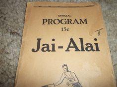 Vintage 1931-32 Season Jai-Alai Official Program Biscayne Fronton jai alai | eBay
