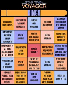 Star Trek Voyager BINGO game. This is amazingly awesome!