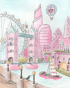 Pink London Skyline And London Eye Print By Debbie Cerone