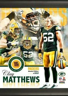 b4bd2b164ee Green Bay Packers Clay Matthews Framed Collage with Football - Green Bay  Packers Gear Store