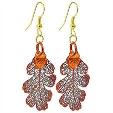 Iridescent Copper Plated REAL 27mm x 20mm Lacy Oak Leaf Dangle Earrings with French Hook Back Finding - $17.99