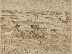 Vincent van Gogh Drawing, watercolour and ink on paper Arles: July 31 - August 1888 National Gallery of Art Washington D., United States of America, North America F: JH: 1527 Image Only - Van Gogh: Harvest Landscape Art Van, Van Gogh Art, Vincent Van Gogh, National Gallery Of Art, Van Gogh Zeichnungen, Desenhos Van Gogh, Van Gogh Drawings, Ink Drawings, Van Gogh Pinturas