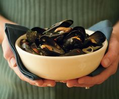 Steamed Mussels with Wine, Garlic & Parsley Recipe - I added some chicken broth and additional butter and garlic.  Kids loved it.