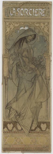 """Alphonse Mucha ~ Projet d'affiche pour """"La Sorcière"""",1903."""