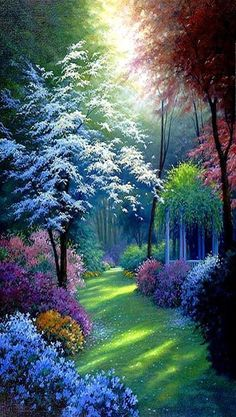 Art Discover Diy Diamond Painting Cross Stitch Tropical Forest Scenery Square Diamond Rhinestones Pasted Home Decoration Painting Beautiful Nature Wallpaper, Beautiful Landscapes, Beautiful Gardens, Beautiful Flowers, Beautiful Places, Beautiful Scenery, Beautiful Paintings Of Nature, Nature Paintings, Beautiful Gorgeous