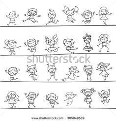 happy kids hand drawing cartoon character vector illustration