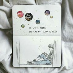 """""""He wrote poems.she was not ready to read."""" ✨ ⠀⠀⠀⠀⠀⠀⠀⠀⠀ Will YOU be ready? 🤔 ⠀⠀⠀⠀⠀⠀⠀⠀⠀ This quote & beautifully drawn spread was created… Art Journal Pages, Bullet Journal Art, Journal Quotes, Bullet Journal Ideas Pages, Bullet Journal Inspiration, Art Journals, Illustration Inspiration, Kunstjournal Inspiration, Art Sketches"""
