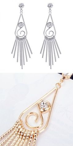 Earrings materials trendy zircon water drop tassel metal women earrings #b.zero1 #earrings #earrings #and #ring #earrings #at #target #earrings #back #types