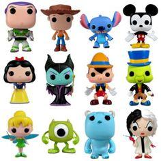 Funko Toys. Disney POP! Vinyl line Series 1  Buzz, Woody, Stitch, Mickey, Snow White, Snow White Witch, Pinochio, Jimminey Cricket, Tinkerbell, Mike, Sulley, Cruella De Vill