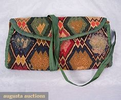 GENTLEMANS NEEDLE WORK POCKETBOOK, c. 1760 October 2006 Vintage Clothing & Textile Auction New Hope, PA Diamond w/in diamond pattern, worked in colored wool yarn on canvas, 2 interior pockets, lined in green homespun linen, edges bound in green silk tape, cross-stitch BR monogram, from family of S. Vose of N.H