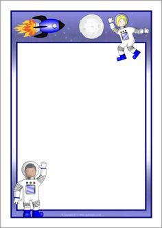 Astronaut A4 page borders (SB10636) - SparkleBox