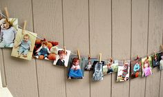 String of baby photos for party