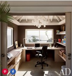 Making the most out of a small space! Helps with two windows! Love this office space.