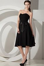 Corset Black Knee Length Chiffon Sweetheart A-Line Bridesmaid Dress - US$82.99 - Style B0872 - Snowy Bridal