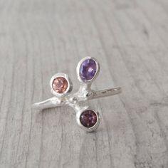 Multistone Ring Sterling Silver Purple Amethyst by SunSanJewelry Diy Rings, Purple Amethyst, Jewelery, Gemstone Rings, Stud Earrings, Engagement Rings, Gemstones, Sterling Silver, Gifts