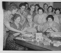 The Oxford Homemakers Unit making care packages for their sons in the Army 1942. #ThanksMom