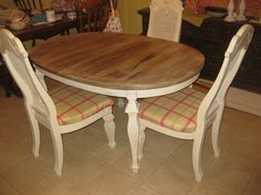Annie Sloan chalk paint. Table and chairs makeover! Here is the site for the technique. Great Blog!      http://onenuttygirl.com/2308/annie-sloan-chalk-paint-the-table/