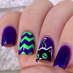 """Cute black cat nails using @salonperfect ""A Royal Affair"" (purple base), ""Loopy Lime"" (green), ""Oil Slick"" (black) and ""Sugar Cube"" (white) these took a…"""