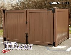 Outdoor dumpster enclosure with Solid Tongue & Groove Privacy Panels shown in Illusions Grand Color Spectrum Brown Vinyl Gates, Vinyl Fence Panels, Privacy Panels, Garbage Can Storage, Garbage Shed, Diy Fence, Fence Ideas, Garbage Dumpster