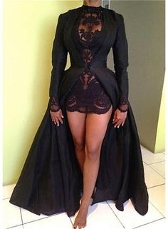 Black Two-Piece Detachable Prom Dresses High Neck Long Sleeves Lace Sexy Evening Gowns