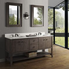 """Complete your farmhouse bathroom with the River View 72"""" Farmhouse Vanity! It features his and hers double bowl so getting ready is a breeze! Starting at$1,725.00 the River View epitomizes versatility in the Farmhouse style!"""