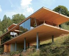 Cross-Laminated Timber House Contemporary Arquitectura Arquitectos modern residence house home architecture modernist Residencia Cantilever Architecture, Residential Architecture, Contemporary Architecture, Amazing Architecture, Architecture Design, Sustainable Architecture, Roof Design, Exterior Design, Arched Cabin