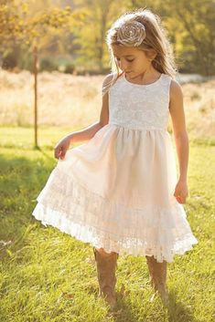 country flower girl dresses rustic lace sleveless with boots meghan mais photography Flower Girl Dresses Country, Country Bridesmaid Dresses, Rustic Flower Girls, Toddler Flower Girl Dresses, Lace Flower Girls, Little Girl Dresses, Pretty Wedding Dresses, Wedding Flower Girl Dresses, Wedding Dress Accessories