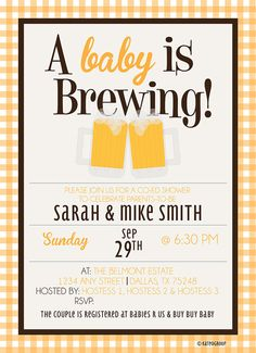 Baby is Brewing Beer Mugs Baby Shower Invitation